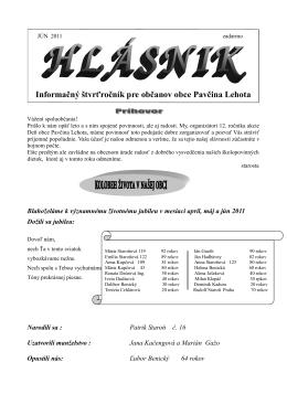 Informačný štvrťročník pre občanov obce Pavčina Lehota