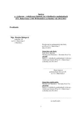 správa o výchovnovzdelávacej činnosti 2012/2013