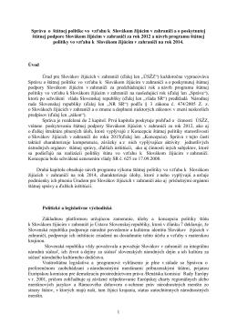 1 Správa o štátnej politike vo vzťahu k Slovákom
