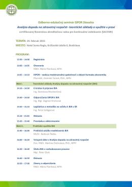 Odborno-edukačný seminár ISPOR Slovakia Analýza dopadu na
