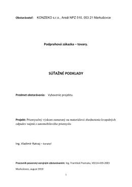 SÚŤAŽNÉ PODKLADY - KONZEKO, spol. s ro