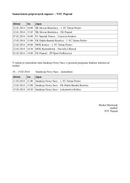 Sumarizácia prípravných zápasov – NTC Poprad
