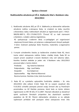 Správa o činnosti Rodičovského združenia 2012/2013