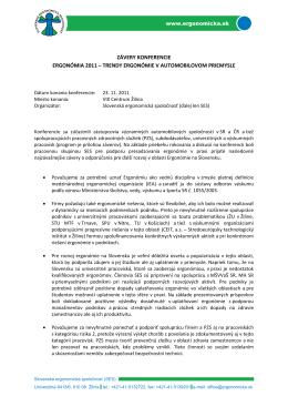 Závery Ergo 2011 - Slovenská ergonomická spoločnosť