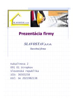 SLAVOSTAV,sro