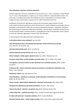 PharmAkademia regionálne stretnutia lekárnikov Tradičné