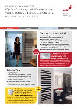 Zehnder akcia jeseň 2014 Kúpeľňové radiátory s ventilátorom