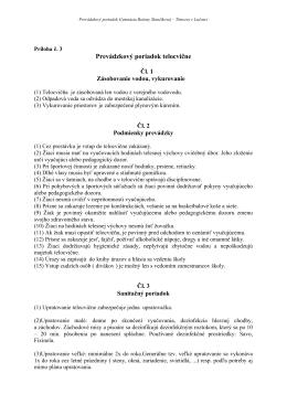 Prevádzkový poriadok telocvične - Gymnázium Boženy Slančíkovej
