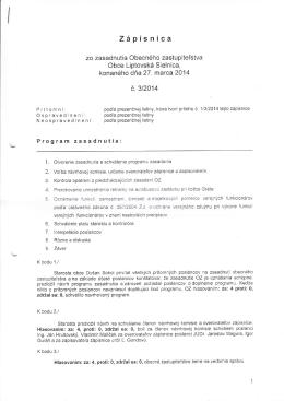 Zápisnica č. 3/2014 + Uznesenia zo zasadnutia OZ obce zo dňa