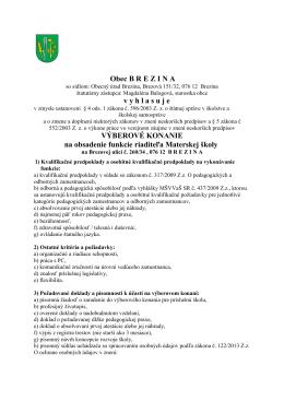 VK na riaditeľa Materskej školy v Brezine