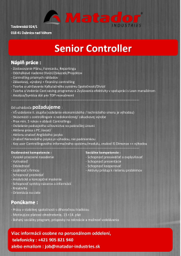 Senior Controller - MATADOR Industries