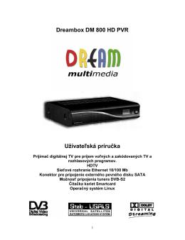 Dreambox DM 800 HD PVR Užívateľská príručka