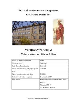 ŠKD výchovný program - Cirkevná základná škola svätého Pavla