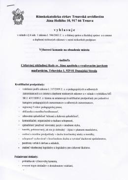 Rimskokatolicka cirkev Trnavska arcidieceza Jana