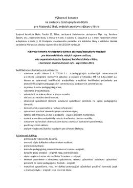 Výberové konanie zást. riad. pre MŠ na Farskej v