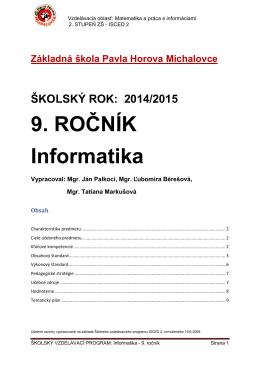 9. ROČNÍK Informatika - ZŠ Pavla Horova Michalovce