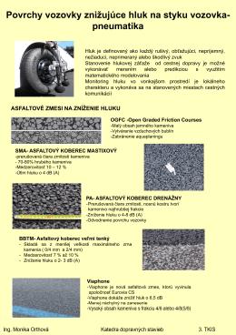 Povrchy vozovky znižujúce hluk na styku vozovka