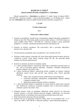 Rámcová náplň komisií obecného zastupiteľstva