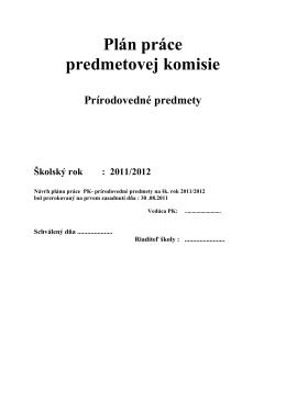 Plán práce predmetovej komisie