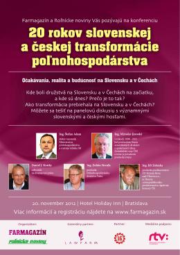 20 rokov slovenskej a českej transformácie poľnohospodárstva