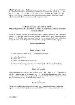 VZN č. 2/2014 o miestnych daniach a miestnom poplatku za