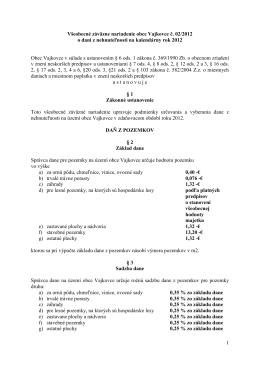 VZN č. 02/2012 o dani z nehnuteľnosti na kalendárny rok