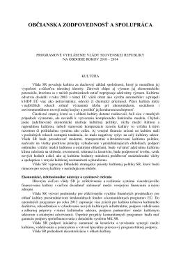 Programové vyhlásenie vlády Slovenskej republiky na obdobie