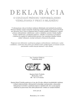 Deklarácia - Spojená škola Tvrdošín