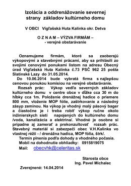 Príloha 1 - Vígľašská Huta Kalinka