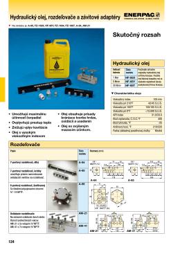 Hydraulický olej, rozdeľovače a závitové adaptéry Skutočný rozsah
