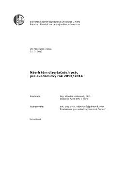 Témy dizertačných prác pre III. stupeň štúdia v
