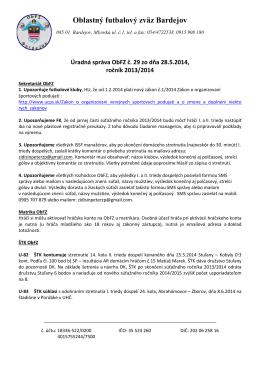 Úradná správa č.29 - Oblastný futbalový zväz Bardejov