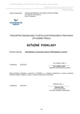 SÚŤAŽNÉ PODKLADY - Vodohospodárska výstavba, š.p.