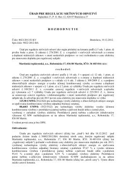 0023/2013/E-KV - Martinská teplárenská, as
