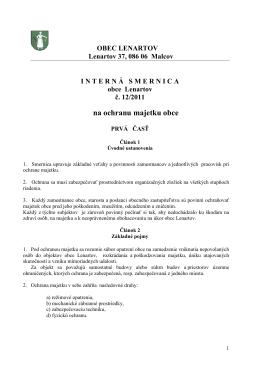 Smernica Na Ochranu Majetku Obce