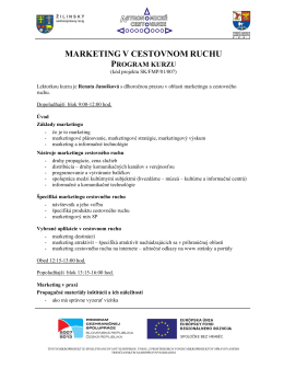 "Program kurzu ""Marketing v cestovnom ruchu"""
