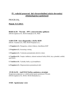 IV. vedecké pracovné dni vitreoretinálnej sekcie slovenskej