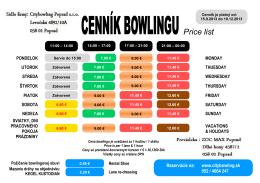 CENNÍK BOWLINGU Price list
