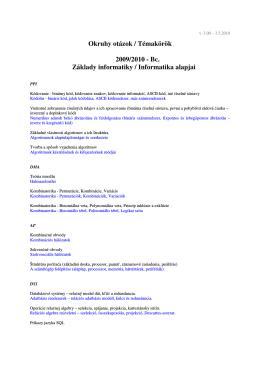 Okruhy otázok / Témakörök 2009/2010