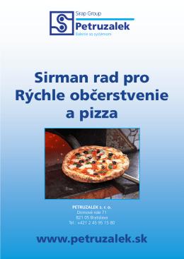 Katalóg rýchle občerstvenie Sirman