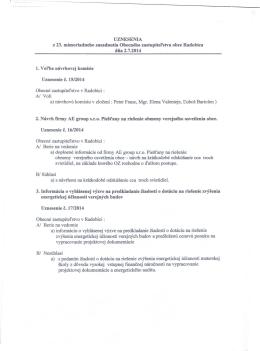 UZNESENIA a ZÁPISNICA z 23. zasadnutia Obecného