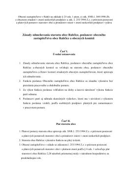Zásady odmeňovania starostu obce Rabčice, poslancov obecného