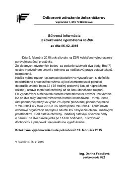 Súhrnná informácia - Odborové združenie železničiarov