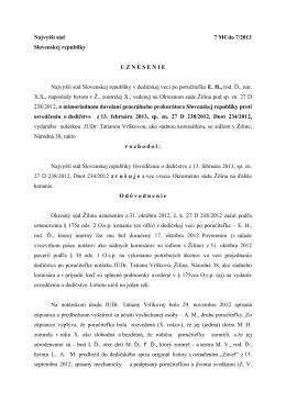 Najvyšší súd 7 MCdo 7/2013 Slovenskej republiky