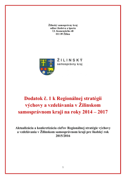 Dodatok č. 1 k Regionálnej stratégii výchovy a vzdelávania v