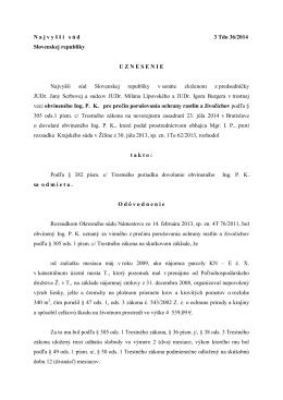 N a j v y š š í s ú d 3 Tdo 36/2014 Slovenskej