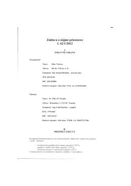 Zmluva o nájme priestorov č. 62/1/2012