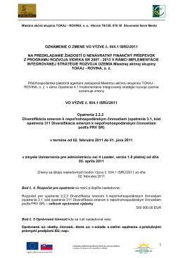 Oznámenie o zmene vo výzve č. III/4.1 ISRÚ/2011 - tokaj