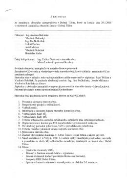 Zápisnica zo zasadnutia obecného zastupiteľstva v Dolnej Tižine