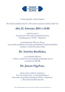 Plagat 22.02.2015 Film o Imrichovi Kruzliakovi a - snkk